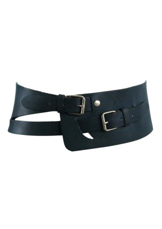 aa505c42f5f Teal Blue Wide Leather Belt with Upper   Lower Buckle Fastening
