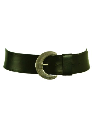 d146be164c0 Black Leather Curved Belt with Crescent Shaped Silver Buckle