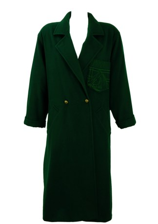 aff65b9a65 Max Mara Dark Green Wool Coat with Embroidered Horse Pocket Detail – M/L
