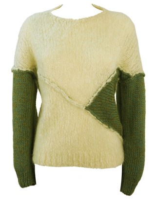 e3f33dca9f0888 Cream Knit Jumper with Jade   Olive Green Sleeve Detail – S M