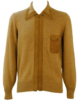 86019ad1812a87 Vintage 60 s Style Camel Coloured Zip Front Cardigan with Suede Detail – M
