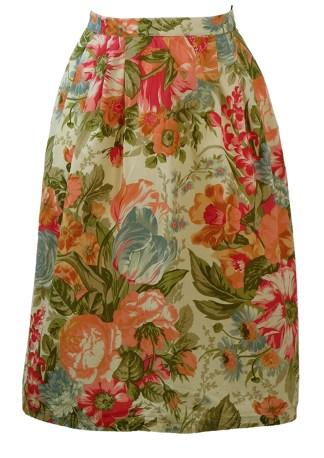 8039c13aca Cream Midi Skirt with Peach, Pink, Green & Blue Floral Print – S/M