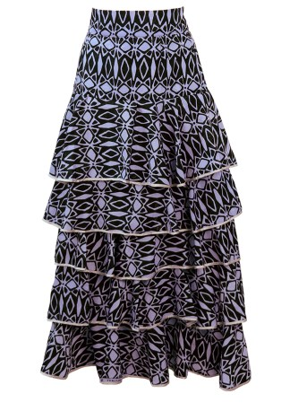 6c67915e6c3b74 Black   Lilac African Patterned Maxi Skirt with Tiered Frills – S