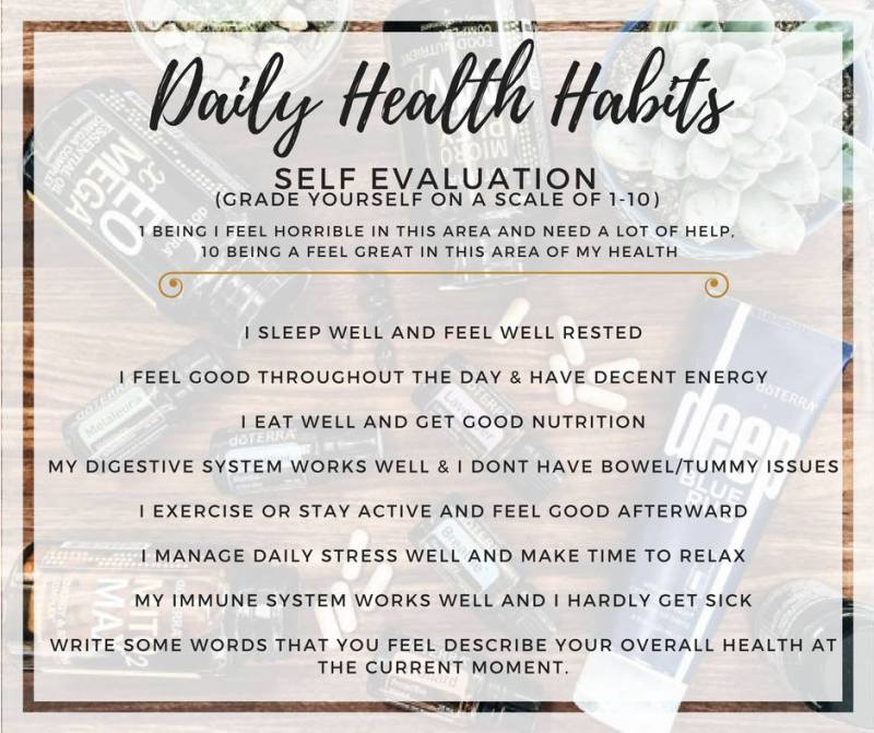 daily habits kit self evaluation