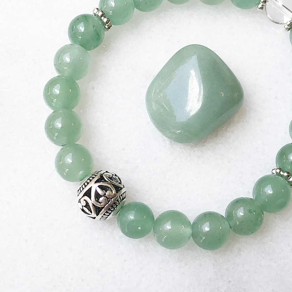 FREE US Shipping Ruby Zoisite and Green Aventurine Reiki Charged Bracelet Free Crystal Gift