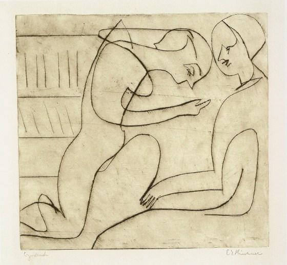 Lovers in the Library by Ernst Ludwig Kirchner