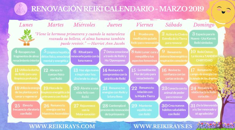 Renovación Reiki Calendario - Marzo 2019
