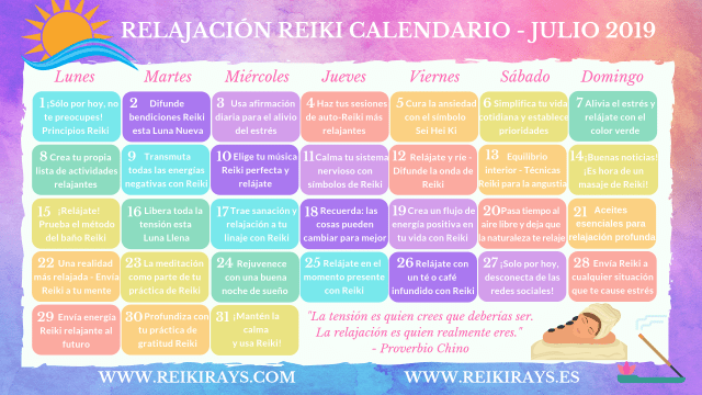 Relajación Reiki Calendario - Julio 2019