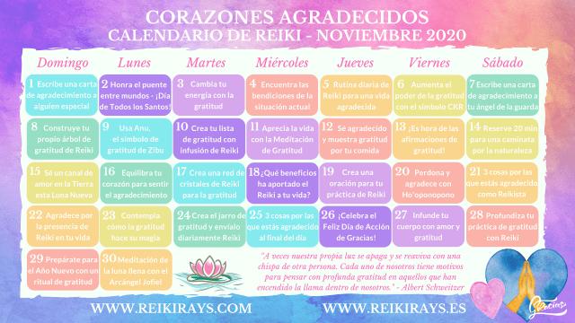 Corazones Agradecidos - Calendario de Reiki - Noviembre 2020