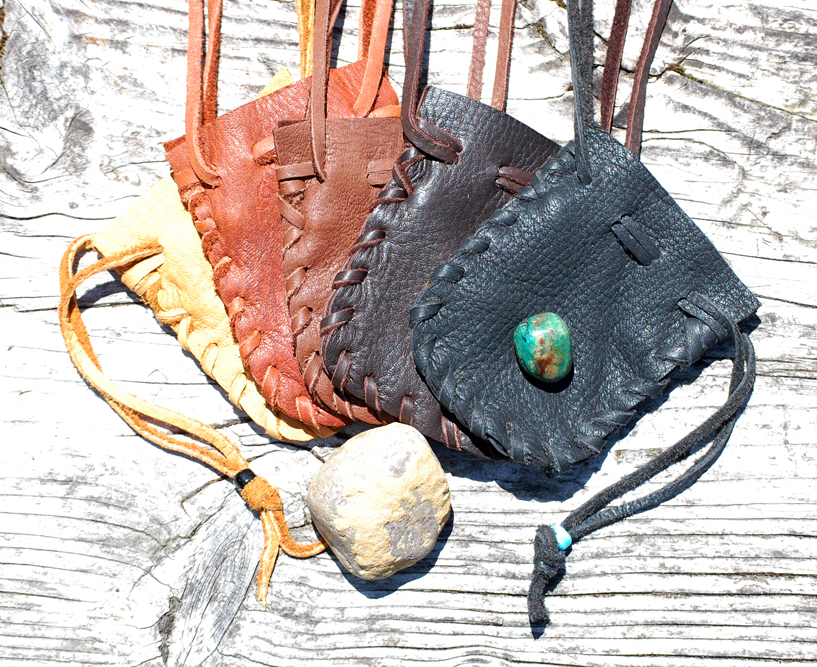 Medicine Pouch With Beaded Drawstring
