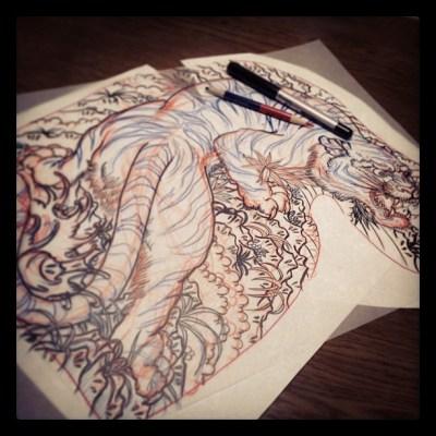 #sketch #japanesetattoo #tiger #bamboo #irezumi #虎 #tattoo #タトゥー#刺青