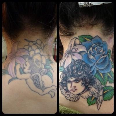#coverup #inprogress #angel #rose #lily #カバーアップ #途中経過 #タトゥー #天使 #バラ #ユリ#tattoo