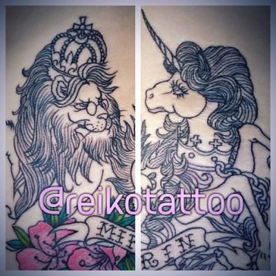 #lion #unicorn #MotherGoose #Alice #lily #tattoo #ライオン #ユニコーン #タトゥー