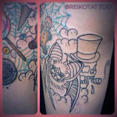 #outline #bat #skull #tattoo #コウモリ #スカル #蜘蛛の巣 #タトゥー