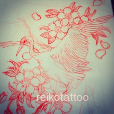#Sakura #Crane #sketch #tattoo