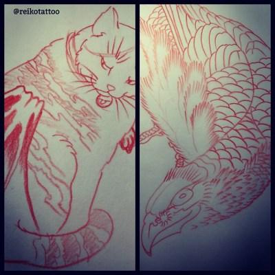 #sketch #design #tattoo #cat #Mtfuji #eagle #猫 #鷹 #タトゥー #デザイン #reikotattoo #studiokeen #名古屋 #大須 #矢場町