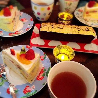 今夜のご褒美 #金粉ケーキ #ミルクレープ
