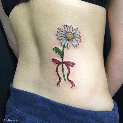 #DAISY #ribbon #tattoo #デイジー #ひなぎく #リボン #タトゥー #reikotattoo #studiokeen #名古屋 #矢場町 #大須 reikotakagi@mac.com