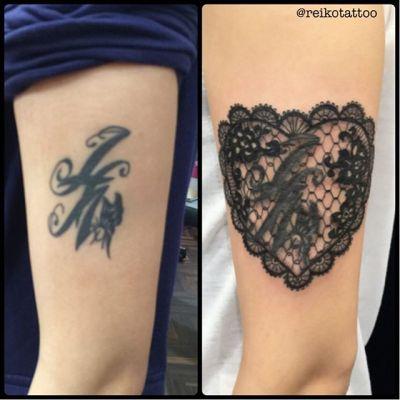 古いタトゥーにつけたしました〜! #lace #heart #tattoo #レース #ハート #タトゥー #reikotattoo #studiokeen #名古屋 #大須 #矢場町 reikotakagi@mac.com