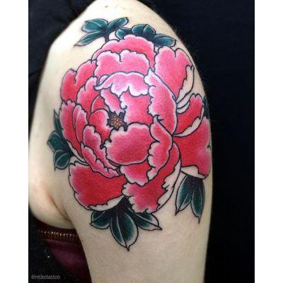 #緋牡丹 #刺青 #peony #Botan #tattoo #タトゥー #reikotattoo #studiokeen #名古屋 #大須 #矢場町 #nagoyatattoo #japan #irezumi