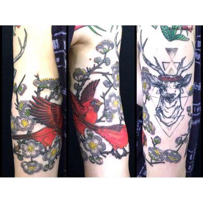 #littlebird #plumblossom #tattoo #小鳥 #梅 #タトゥー #reikotattoo #studiokeen #名古屋 #大須 #矢場町 reikotakagi@mac.com