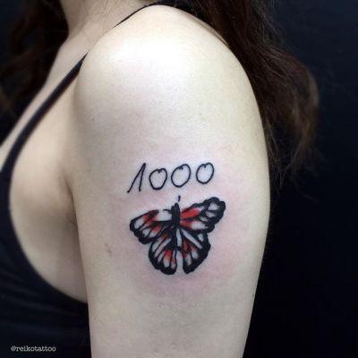 #蝶々 #1000 #文字 #落書き #タトゥー #titlefitghter #UKtour #tattoo #reikotattoo #studiokeen #japan #nagoyatattoo #tokyo #shizuoka #名古屋 #矢場町 #大須 reikotattoo.com