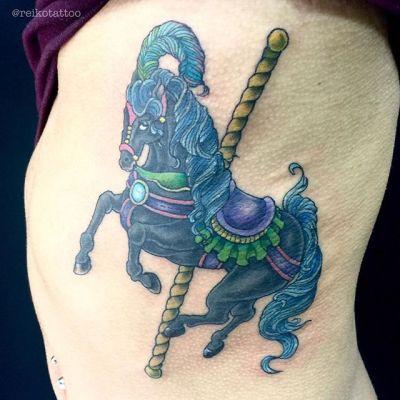 #ポニー #メリーゴーランド #タトゥー #pony #horse #merrygoround #tattoo #reikotattoo #studiokeen #japan #nagoyatattoo #tokyotattoo #名古屋 #東京 #静岡 #矢場町 #大須