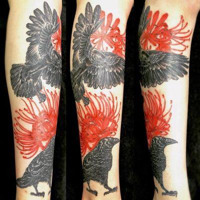 #カラス #曼珠沙華 #crow #clusteramaryllis ...#tattoo #reikotattoo #studiokeen #japan #nagoyatattoo #tokyotattoo #irezumi #タトゥー #刺青 #名古屋 #大須 #矢場町 #東京