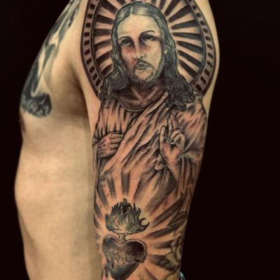 #jesus #sacredheart #キリスト ...#tattoo #reikotattoo #studiokeen #japan #nagoyatattoo #tokyotattoo #irezumi #タトゥー #刺青 #名古屋 #大須 #矢場町 #東京