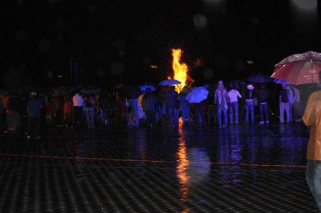 Saturday night's bonfire continues despite the rain