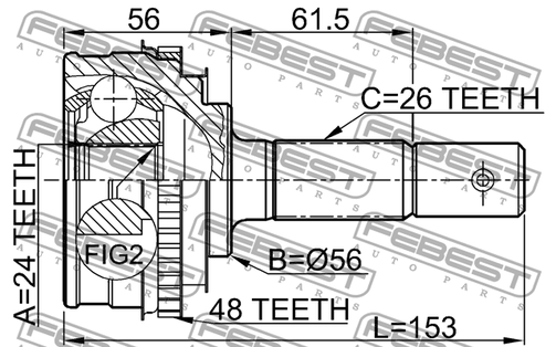 0110-009A48 OUTER CVJ 24X56X26 OEM to compare: #43410