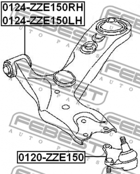 0124-ZZE150RH RIGHT FRONT ARM OEM to compare: 48068-02130