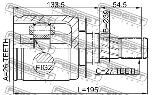 0211-R51 INNER JOINT RIGHT 26X39X27 OEM to compare: #39100