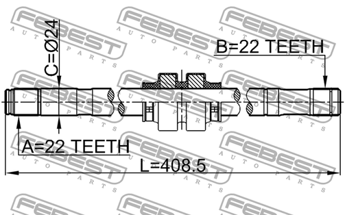 0212-B10ATLH LEFT SHAFT 22X409X22 OEM to compare: #39101
