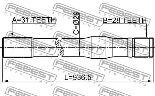 0212-Y61LH LEFT SHAFT 31X936.5X28 NISSAN PATROL/SAFARI OE