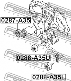 0287-A35 TENSIONER TIMING BELT OEM to compare: 11955-JA10A