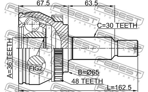 1210-TUCMTA48 OUTER CV JOINT 36X65X30 HYUNDAI TUCSON OE-Nr