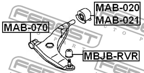 MAB-021 REAR ARM BUSH LEFT FRONT ARM OEM to compare