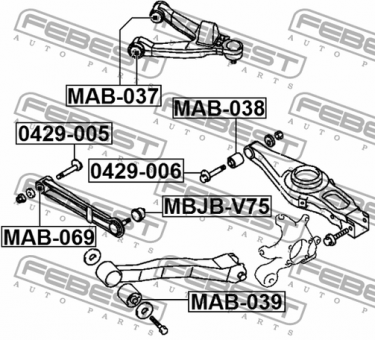 MAB-069 ARM BUSH FOR TRACK CONTROL ARM OEM to compare