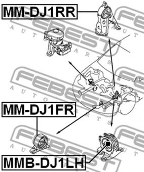 MM-DJ1RR HINTERMOTORLAGER MITSUBISHI GALANT OEM z. Vergl