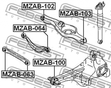 MZAB-100 ARM BUSH FOR LATERAL CONTROL ARM OEM to compare