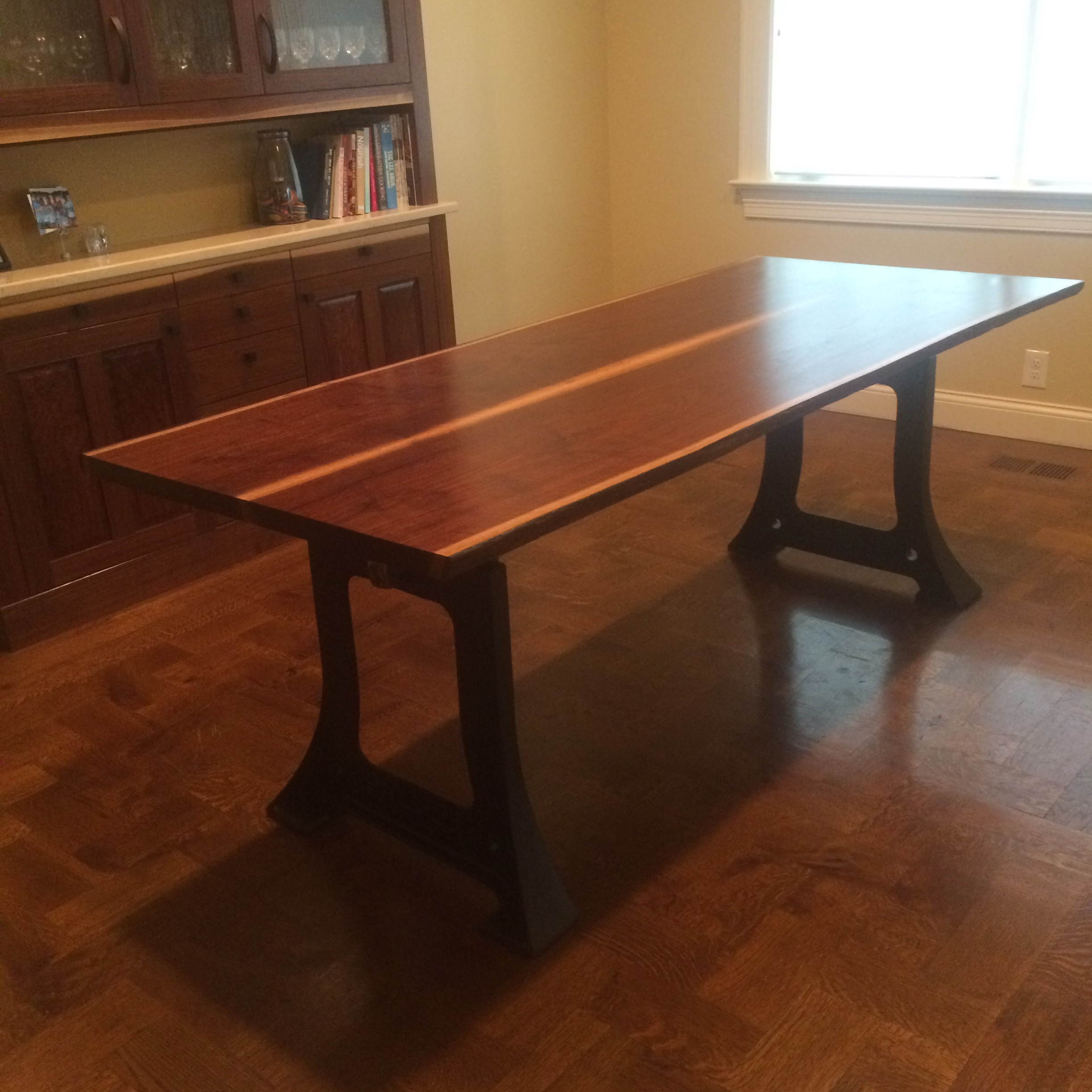 Walnut Kitchen Table: Walnut Table With Cast Iron Legs