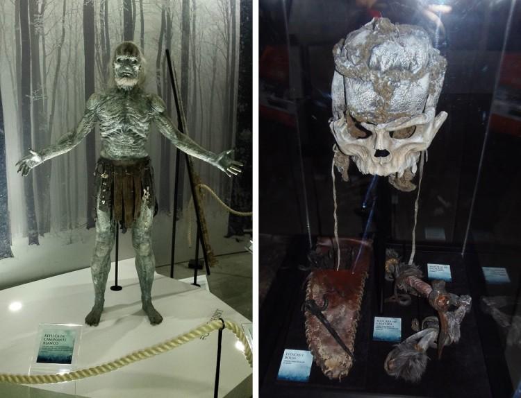 Maqueta de Caminante Blanco y la máscara de Casaca de Matraca.