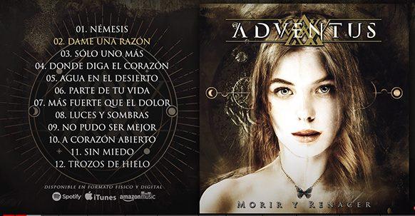 "ADVENTUS, Album debut  ""MORIR Y RENACER"" 2021 (CD MUSIC)"