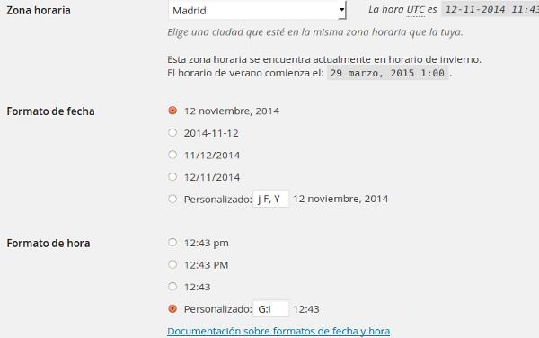 Formato de fecha y hora wordpress