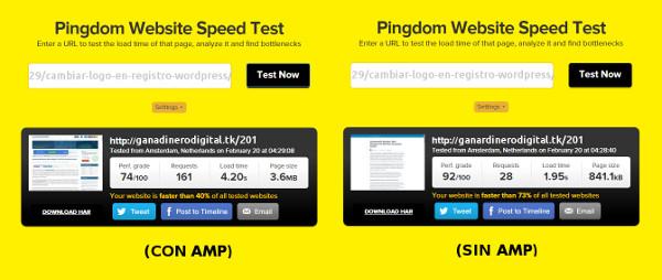 con y sin AMP prueba velocidad