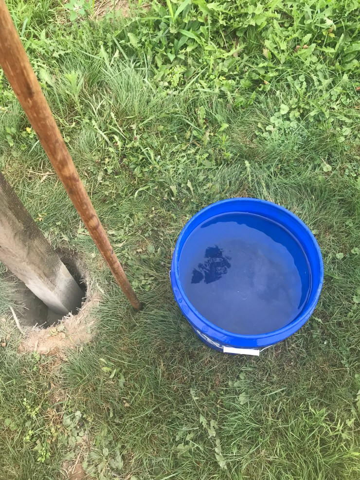 Water for setting cement for post