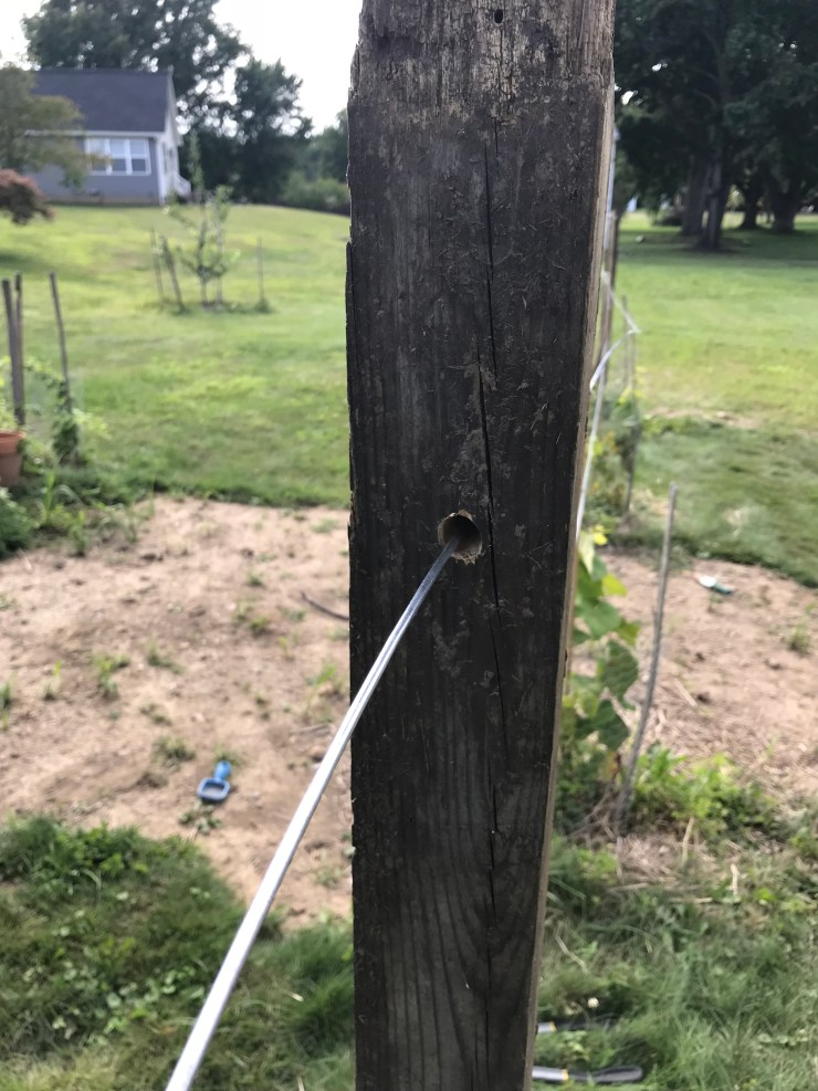 Feed wire through 4x4 post