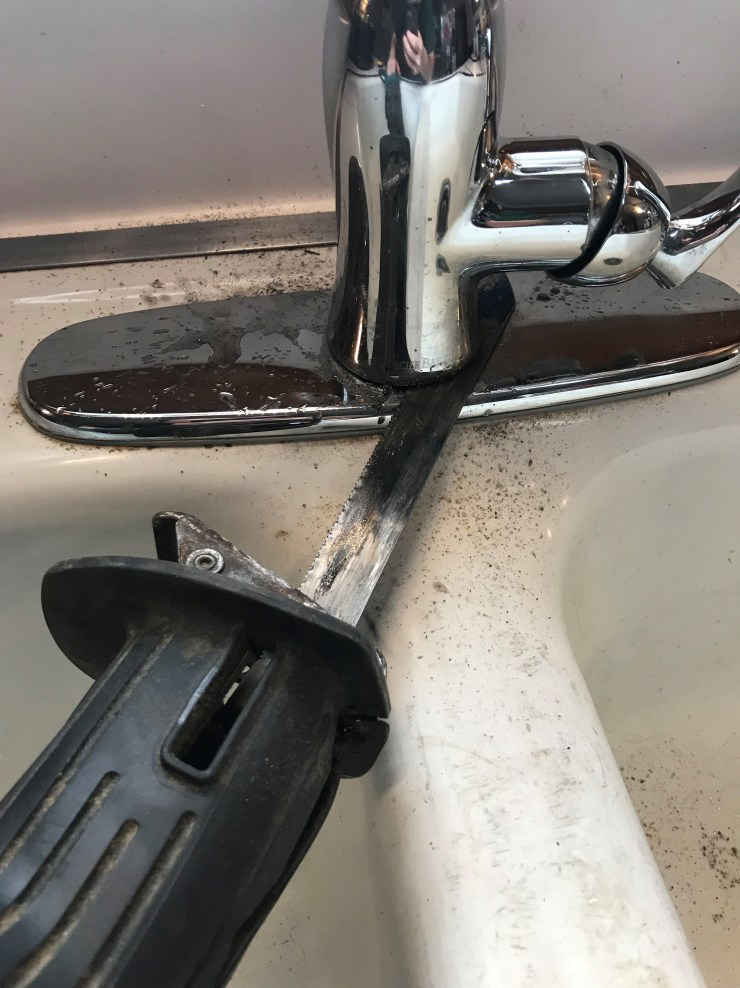 Cutting Off Old Faucet