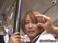 満員バスでセーラー服姿の美爆乳ギャルが痴漢に襲われる無理矢理犯している動画